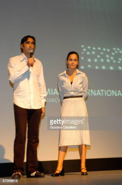 Director Carlos Bolando and actress Alicia Braga on stage at the GusmanTheater before the screening of the film 'Solo Dios Sabe' on March 10 2006 in...