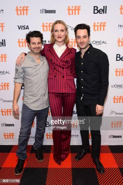 Director Carlos Sanchez actor Evan Rachel Wood and director Jason Sanchez attend the TIFF presents 'In Conversation With Evan Rachel Wood' at TIFF...