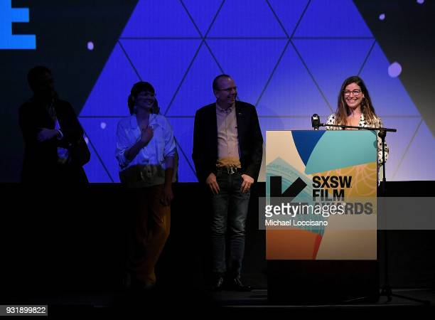Director Carly Stone accepts the Narrative Feature award for 'The New Romantic' at the SXSW Film Awards show during the 2018 SXSW Conference and...