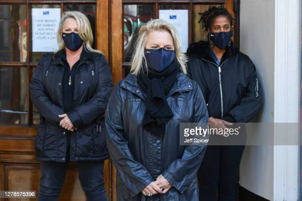 Director Caroline Jay Ranger, Comedian and Writer Jennifer Saunders and Vocalist Louise Clare Marshall take part in a Silent Stand at Gielgud Theatre...