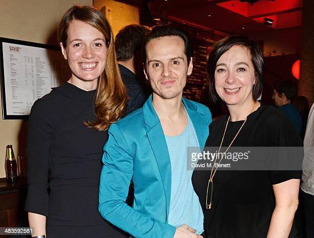 Director Carrie Cracknell actor Andrew Scott and artistic director of The Royal Court Vicky Featherstone attend an after party following the press...