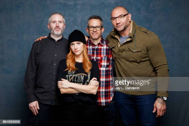 Director Cary Murnion actress Brittany Snow director Jonathan Milott and actor Dave Bautista from the film 'Bushwick' are photographed at the 2017...