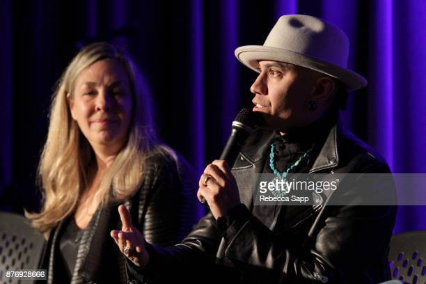 Director Catherine Bainbridge and musician Taboo speak onstage at Reel to Reel Rumble The Indians Who Rocked The World Featuring a postscreening...