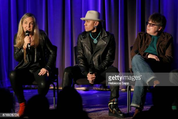 Director Catherine Bainbridge musician Taboo and musician Elliot Easton speak onstage at Reel to Reel Rumble The Indians Who Rocked The World...