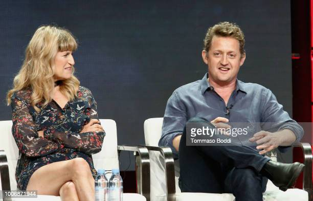 Director Catherine Hardwicke and actor Alex Winter of 'AMC Visionaries Eli Roth's History of Horror' speak onstage during the AMC Networks portion of...