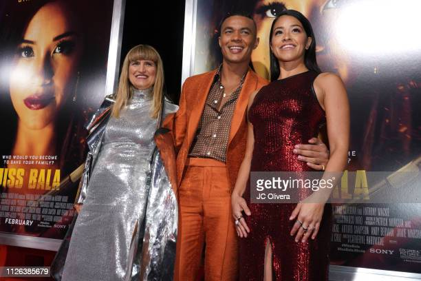 Director Catherine Hardwicke Ismael Cruz Cordova and actress Gina Rodriguez attend the premiere of Columbia Pictures' 'Miss Bala' at Regal LA Live...