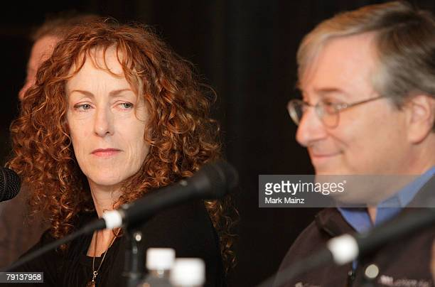 Director Catherine Owens and executive producer Sandy Climan speak during the U2 3D panel discussion at the Sundance Film Festival on January 20 2008...