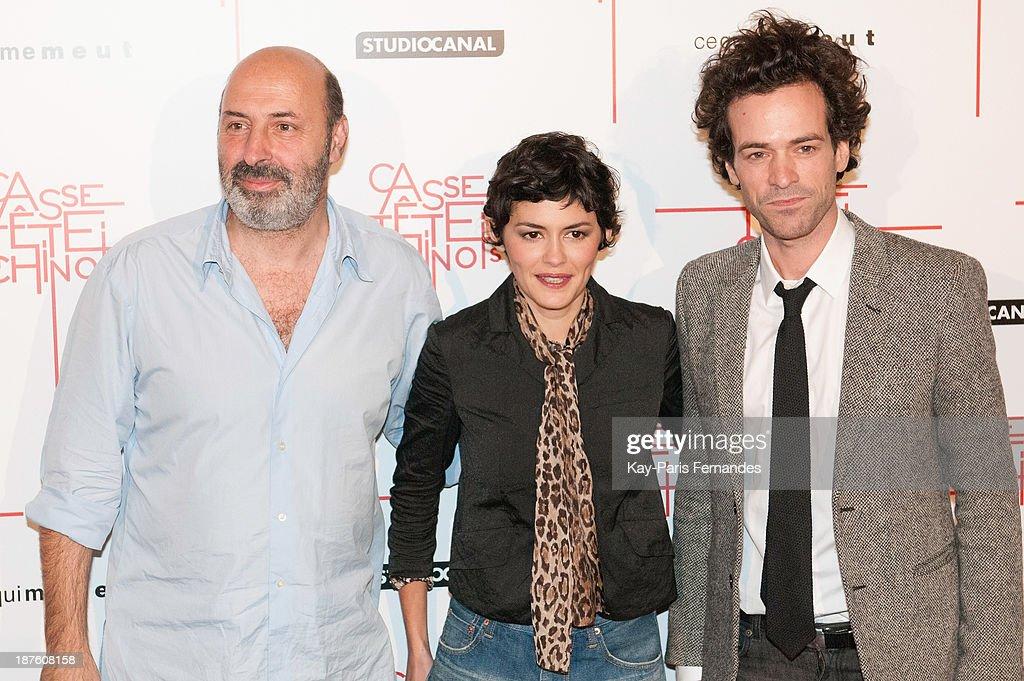 Director Cedric Klapisch, actors Audrey Tautou and Romain Duris attends the 'Casse Tete Chinois' Paris Premiere at Le Grand Rex on November 10, 2013 in Paris, France.