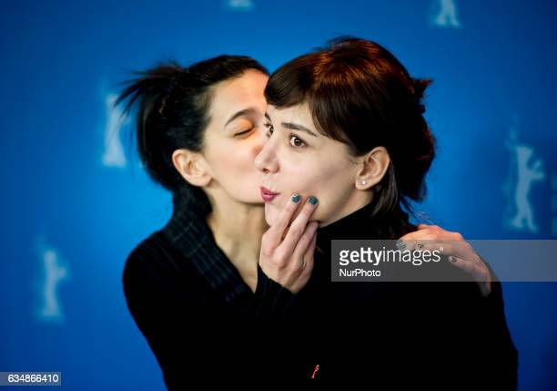 Director Ceylan Ozgun Ozcelik actress Algi Eke and actor Ozgur Cevik attends the Inflame photocall during the 67th Berlinale International Film...