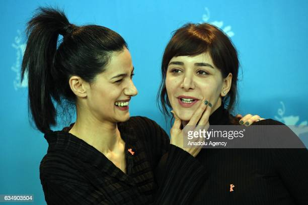 Director Ceylan Ozgun Ozcelik and Actress Algi Eke attend the photocall of 'Kaygi / Inflame' during the 67th Berlinale International Film Festival...