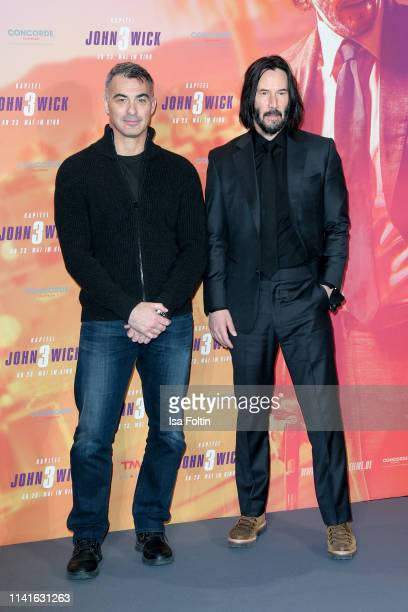 US director Chad Stahelski and Canadian actor Keanu Reeves pose at the John Wick Chapter 3 ñ Parabellum photocall at Hotel De Rome on May 6 2019 in...