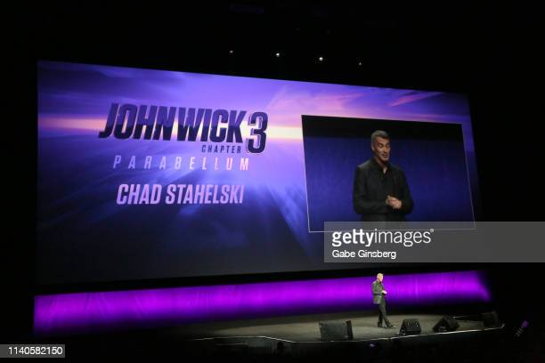 Director Chad Stahelski talks about the upcoming movie John Wick Chapter 3 Parabellum during Lionsgate presentation during CinemaCon at The Colosseum...