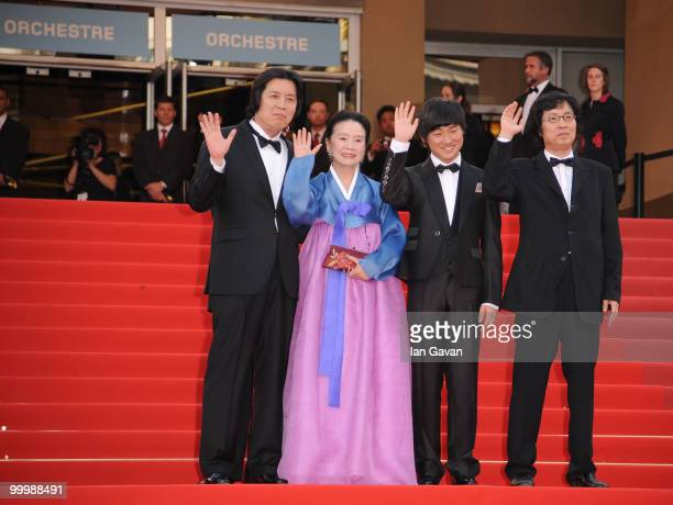 Director ChangDong Lee actress Jeonghee Yoon actor David Lee producer JunDong Lee attend the 'Poetry' Premiere at the Palais des Festivals during the...