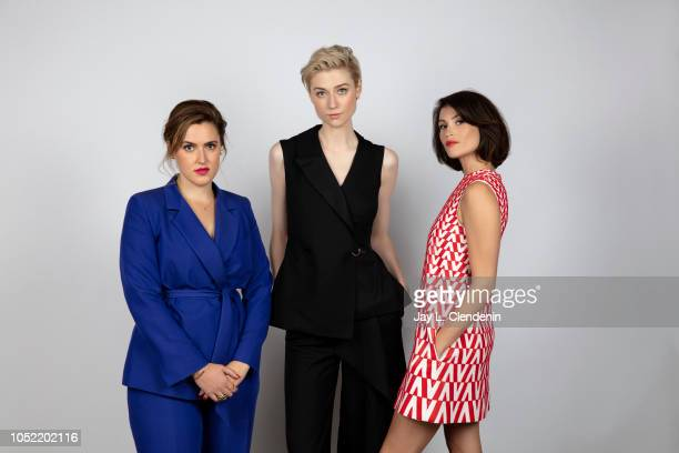 Director Chanya Button actresses Elizabeth Debicki and Gemma Arterton from 'Vita and Virginia' are photographed for Los Angeles Times on September 11...