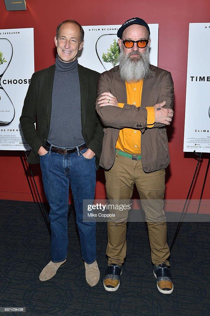 Director Charles Ferguson and Michael Stipe attend the 'Time To Choose' New York screening at Landmark's Sunshine Cinema on June 1, 2016 in New York City.