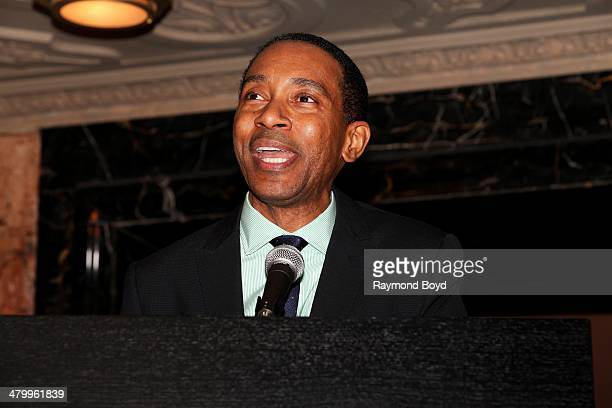 Director Charles RandolphWright greets the press during a presentation of the national touring company of Motown The Musical at the Oriental Theater...
