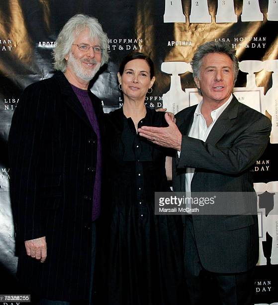 Director Charles Shyer founder Lisa Hoffman of Night Day 24 hour Skincare and husband actor Dustin Hoffman arrive at the launch for Lisa Hoffman's...