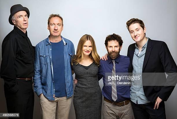 Director Charlie Kaufman actors David Thewlis Jennifer Jason LeighTom Noonan and codirector Duke Johnson from 'Anomalisa' are photographed for Los...