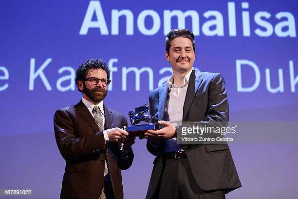 Director Charlie Kaufman on stage as he receives the Grand Jury Prize for the movie 'Anomalisa' at the closing ceremony during the 72nd Venice Film...