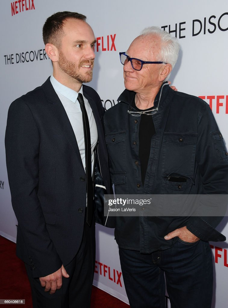 Director Charlie McDowell and actor Malcolm McDowell attend the premiere of 'The Discovery' at the Vista Theatre on March 29, 2017 in Los Angeles, California.