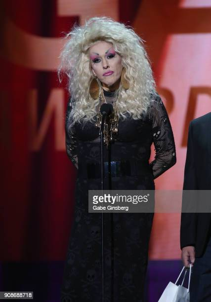 Director Chi Chi LaRue presents an award during the 2018 GayVN Awards show at The Joint inside the Hard Rock Hotel Casino on January 21 2018 in Las...