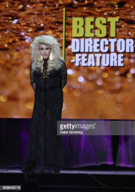 Director Chi Chi LaRue wins the Best Director Feature award during the 2018 GayVN Awards show at The Joint inside the Hard Rock Hotel Casino on...