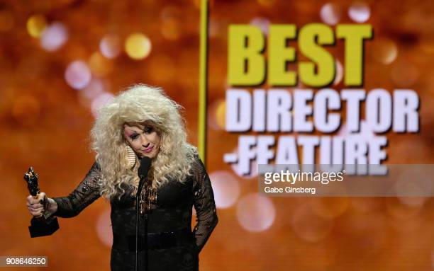 Director Chi Chi LaRue wins the 'Best Director Feature' award during the 2018 GayVN Awards show at The Joint inside the Hard Rock Hotel Casino on...
