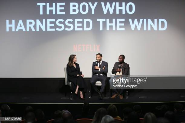 Director Chiwetel Ejiofor host Angelina Jolie and book author William Kamkwamba attend The Boy Who Harnessed The Wind Special Screening at Crosby...