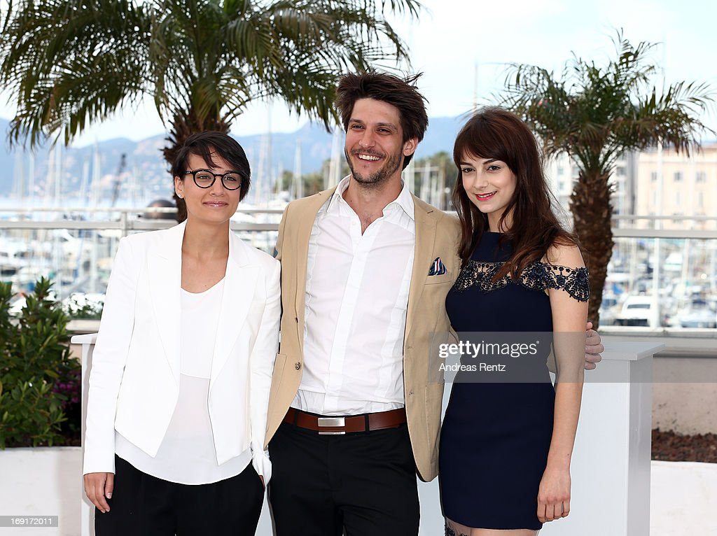 Director Chloe Robichaud, actor Jean-Sebastien Courchesne and actress Sophie Desmarais attend the 'Sarah Prefere La Course' Photocall during The 66th Annual Cannes Film Festival at the Palais des Festivals on May 21, 2013 in Cannes, France.