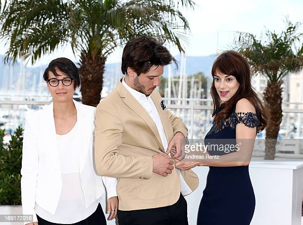 Director Chloe Robichaud actor JeanSebastien Courchesne and actress Sophie Desmarais attend the 'Sarah Prefere La Course' Photocall during The 66th...