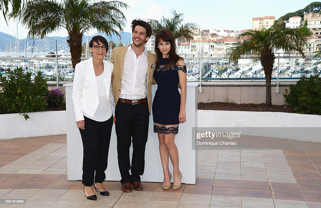 Director Chloe Robichaud, actor Jean-Sebastien Courchesne and actress Sophie Desmarais attend the photocall for 'Sarah Prefere La Course' during The 66th Annual Cannes Film Festival at Palais des Festivals on May 21, 2013 in Cannes, France.