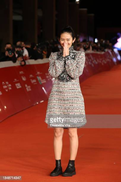 """Director Chloe Zhao attends the red carpet of the movie """"Eternals"""" during the 16th Rome Film Fest 2021 on October 24, 2021 in Rome, Italy."""