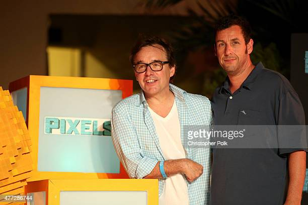 """Director Chris Columbus and actor Adam Sandler attend the """"Pixels"""" photo call during Summer Of Sony Pictures Entertainment 2015 at The Ritz-Carlton..."""