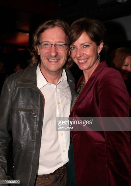 Director Chris Paine and actress Allison Janney attend the 'Revenge Of The Electric Car' Premiere after party held at Tesla Motors on October 21 2011...