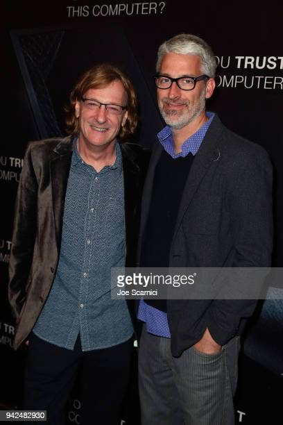 Director Chris Paine and Mark Monroe arrive at the 'Do You Trust This Computer' premiere at Regency Village Theatre on April 5 2018 in Westwood...