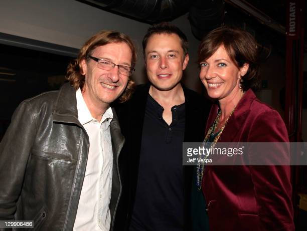 Director Chris Paine Tesla Motors CEO Elon Musk and actress Allison Janney attend the Revenge Of The Electric Car Premiere after party held at Tesla...