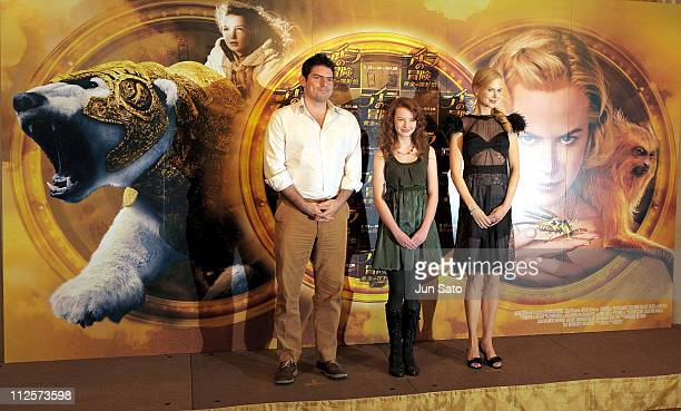 Director Chris Weitz actress Dakota Blue Richards and Actress Nicole Kidman attend 'The Golden Compass' press conference at The Peninsula Tokyo on...