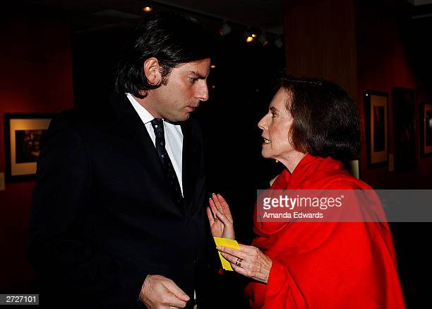 Director Chris Weitz chats with his mother actress Susan Kohner at the Jack Oakie Lecture on Comedy in Film featuring Paul and Chris Weitz at the...