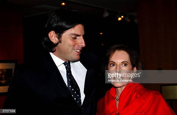 Director Chris Weitz poses with his mother actress Susan Kohner at the Jack Oakie Lecture on Comedy in Film featuring Paul and Chris Weitz at the...