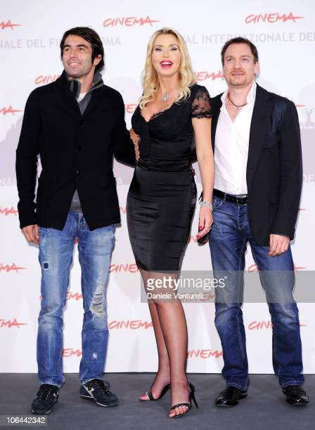 Director Christian Molina actress Valeria Marini and actor Ben Temple attend the 'I Want To Be A Soldier' photocall during the 5th International Rome...