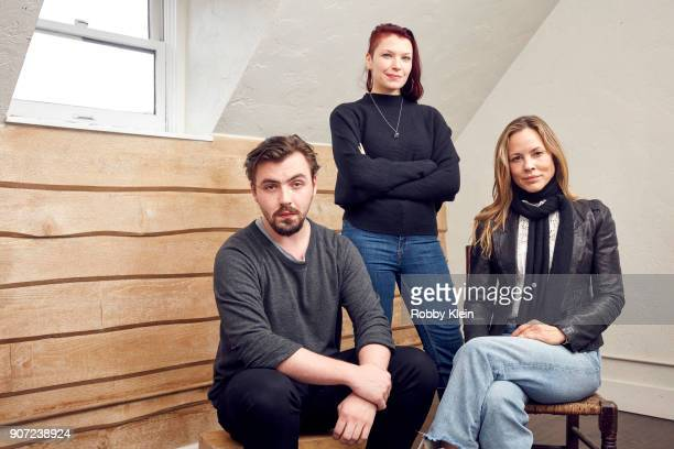 Director Christian Stephens Producer Celine Tricart and Actor Maria Bello from the film 'The Sun Ladies' poses for a portrait in the YouTube x Getty...
