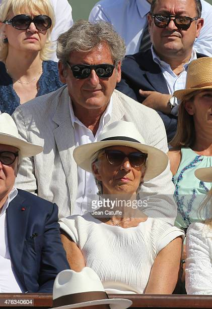 Director Christine Lagarde and her husband Xavier Giocanti attend the men's final on day 15 of the French Open 2015 at Roland Garros stadium on June...
