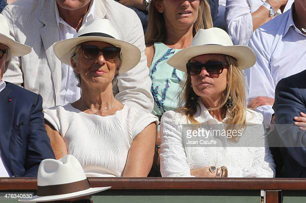 Director Christine Lagarde and US Ambassador to France Jane D Hartley attend the men's final on day 15 of the French Open 2015 at Roland Garros...