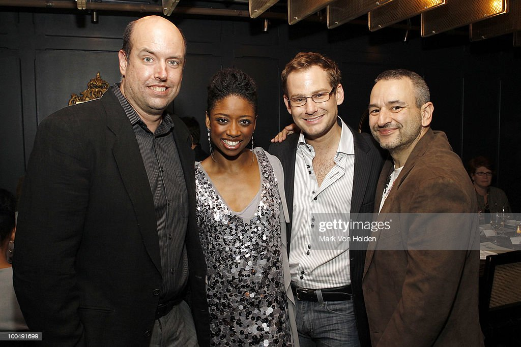 Director Christopher Ashley, actress Montego Glover, actor Chad Kimball, Memphis Book and Lyrics playwright, Joe Dipietro attend Everlon Diamond Knot Strength Of Love Dinner For Cast of Broadway's Memphis at Double Crown Restaurant on May 24, 2010 in New York City.