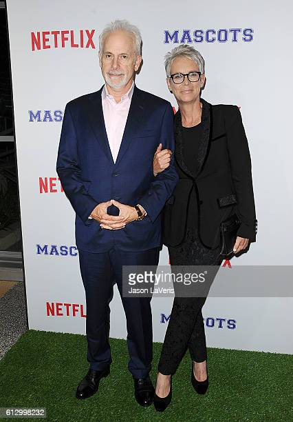 Director Christopher Guest and actress Jamie Lee Curtis attend a screening of Mascots at Linwood Dunn Theater on October 5 2016 in Los Angeles...