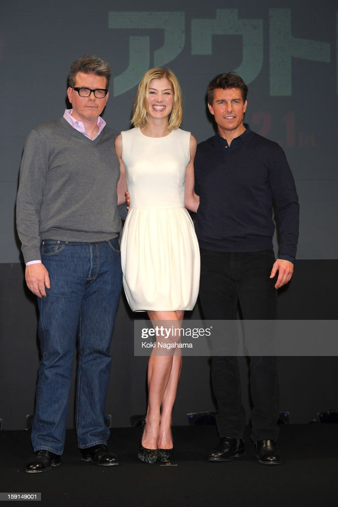 Director Christopher McQuarrie, actress Rosamund Pike and actor Tom Cruise attend the 'Jack Reacher' press conference at the Ritz Carlton Tokyo on January 9, 2013 in Tokyo, Japan.