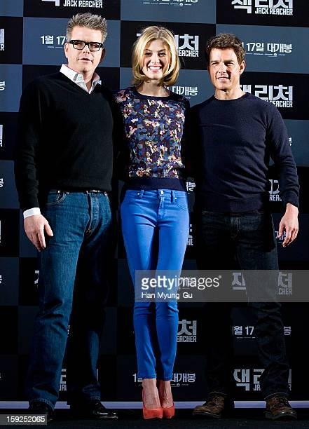 Director Christopher McQuarrie and actors Rosamund Pike and Tom Cruise attend the 'Jack Reacher' press conference at Conrad Hotel on January 10 2013...