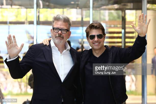 Director Christopher McQuarrie and Tom Cruise arrive in support of the 'Mission Impossible Fallout' World Press Tour at Gimpo Airport on July 15 2018...
