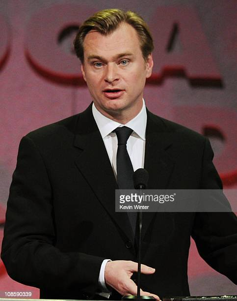 """Director Christopher Nolan accepts the Feature Film Nomination Plaque for """"Inception"""" onstage at the 63rd Annual Directors Guild Of America Awards..."""