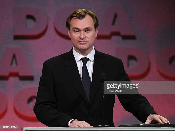 "Director Christopher Nolan accepts the Feature Film Nomination Plaque for ""Inception"" onstage at the 63rd Annual Directors Guild Of America Awards..."
